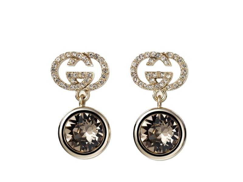 Gucci Gold-Tone Brass & Swarovski Crystal GG Logo Drop Earrings