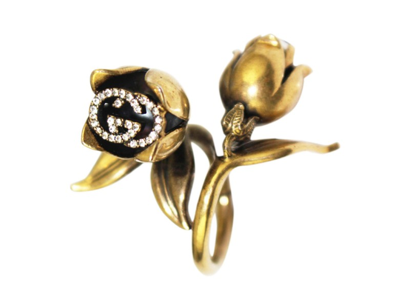 Gucci Gold Metal Flora Flower Crystal GG Pearl Ring | Gucci | Buy at ...