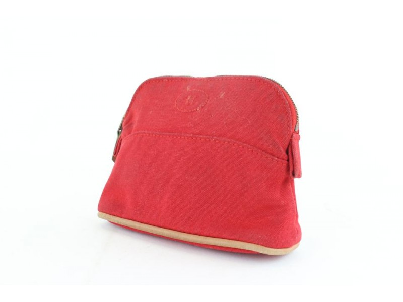 Hermès Toiletry Pouch Bolide 10hz1126 Red Canvas Clutch