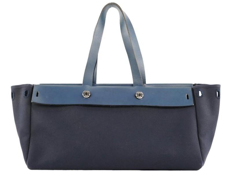 Hermès Navy Blue Herbag East West Tote Bag 389her226