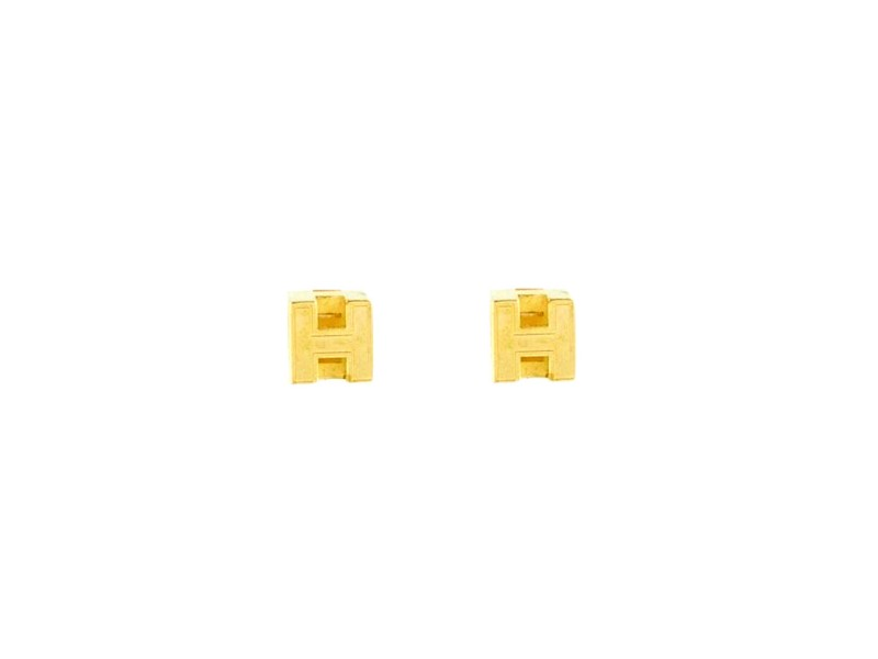 Hermes Gold Plated Cage d'H Stud Earrings