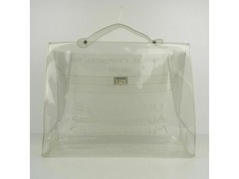 Hermès Kelly L Souvenir De L'exposition Beach Translucent 872787 Clear Vinyl Tote
