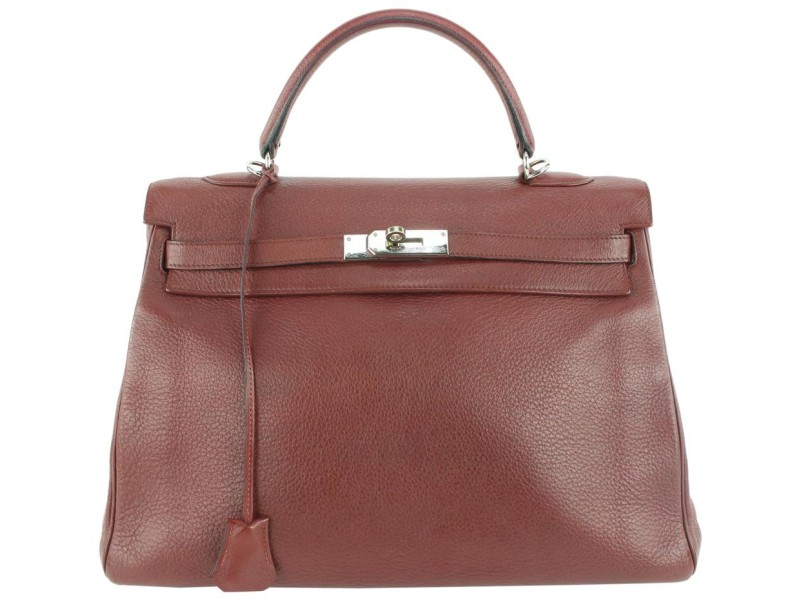 Hermès Rouge Ash Clemence Leather Kelly 35 Bag 562her311