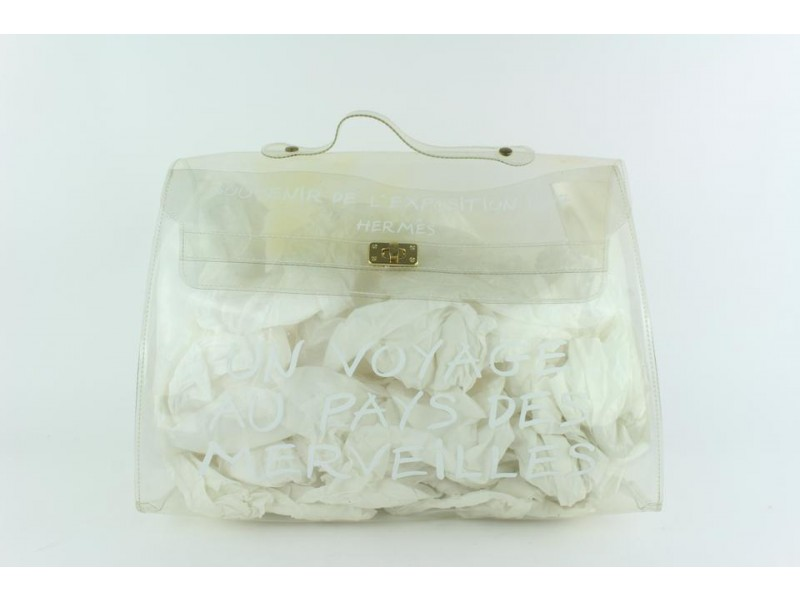 Hermès Kelly Translucent Souvenir Limited Edition 22hz1019 White Vinyl Tote