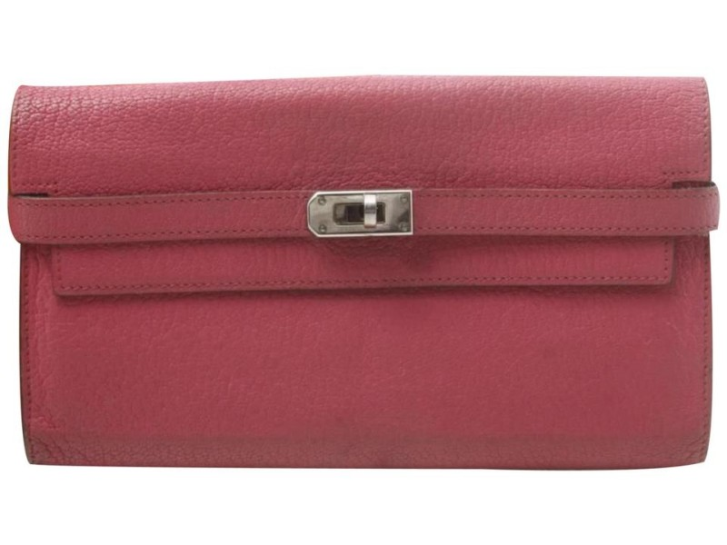 Hermes Pink Chevre Leather Kelly Classic Wallet Flap Clutch 861RL895