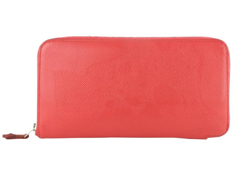 Hermès Silk'in Long Zip Around Wallet 4hz1029 Coral Leather Clutch