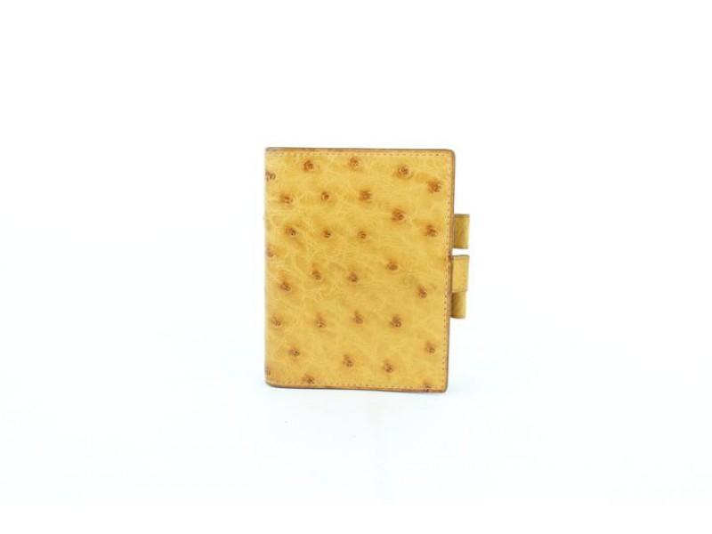 Hermès Yellow Ostrich Agenda Cover 230305 Wallet