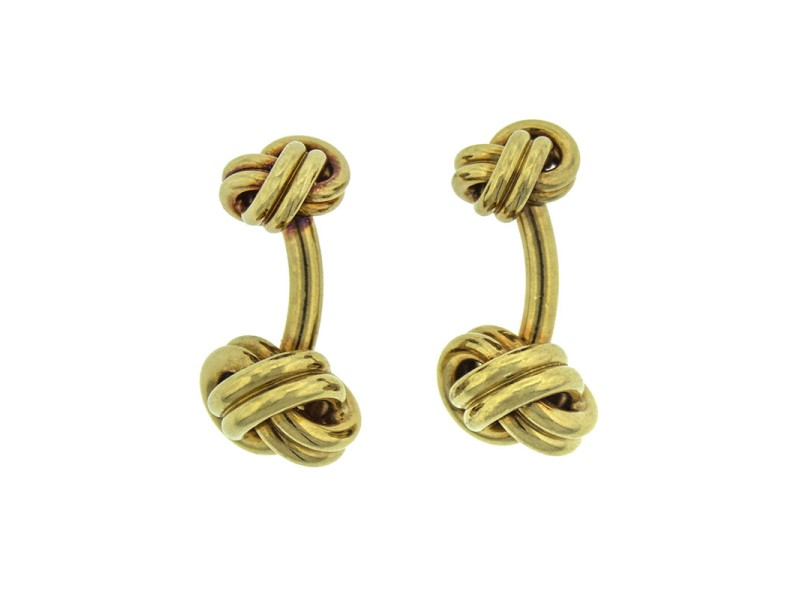 Tiffany & Co. Schlumberger 18K Yellow Gold Woven Knot Cufflinks