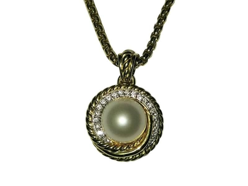David Yurman 18K Yellow Gold Crossover Pearl and Diamond Pendant Necklace