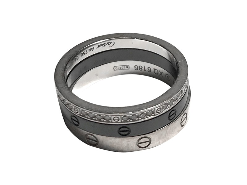 Cartier Love 18K White Gold with Black Ceramic and Diamond 3 Band Ring Size 6.75