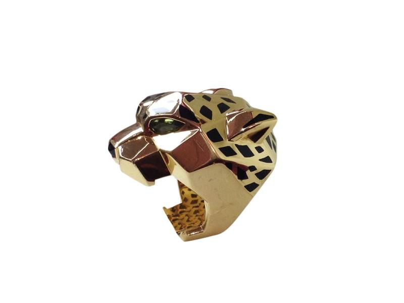 Cartier 18K Yellow Gold Peridot & Onyx Panthere Head Ring Size 7.5