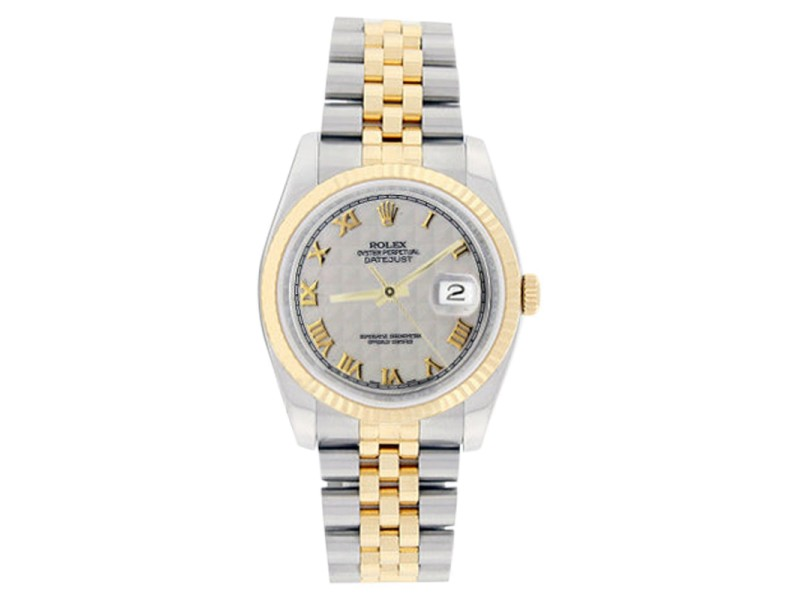 Rolex Mens Stainless Steel & 18K Gold Datejust 116233 Ivory Pyramid Roman Dial Watch
