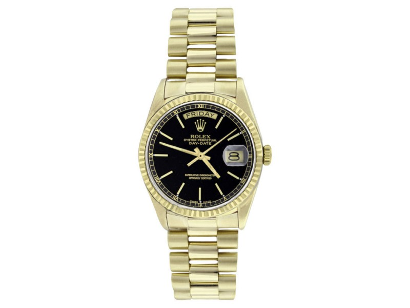 Rolex Solid 18K Gold President 18038 Black Stick Dial Quickset Mens Watch