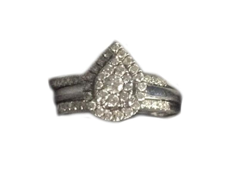Pear Shaped 10K White Gold Diamond Ring
