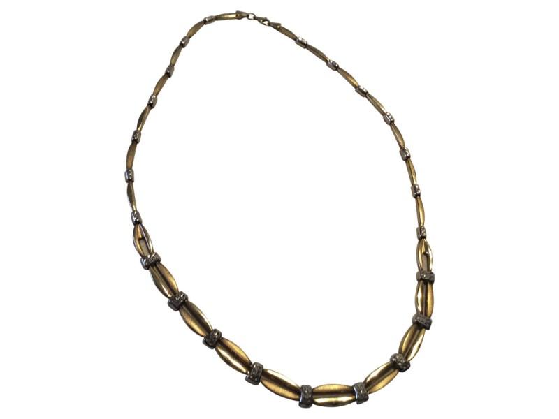 10K Two Tone Gold Byzantine Fancy Link Necklace