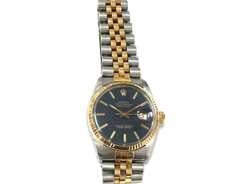 Rolex Datejust Date 2Tone 18K Gold & Stainless Steel Blue Dial Watch