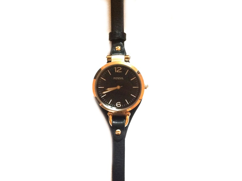 Fossil Georgia ES3077 Black and Rose Gold Tone Watch