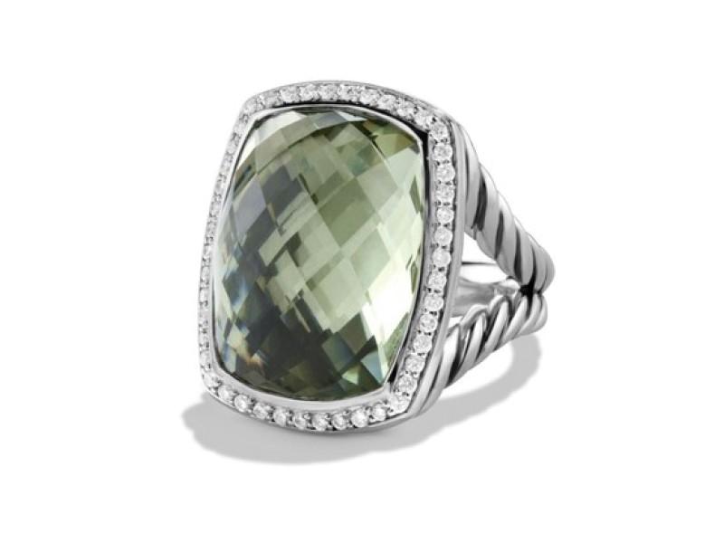 David Yurman Sterling Silver Prasiolite & Diamonds Ring