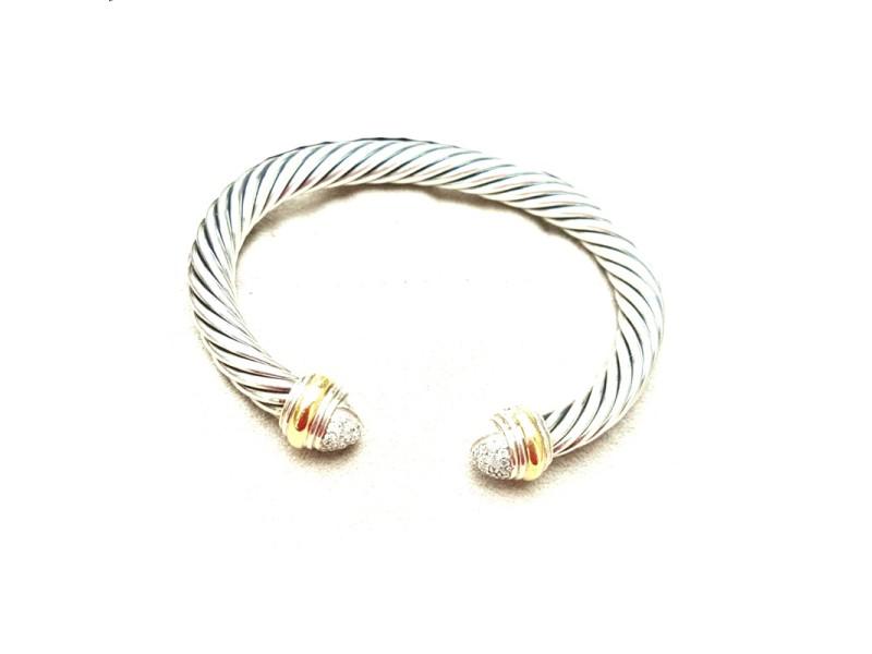 David Yurman 7mm Sterling Silver Yellow Gold Diamond Bracelet