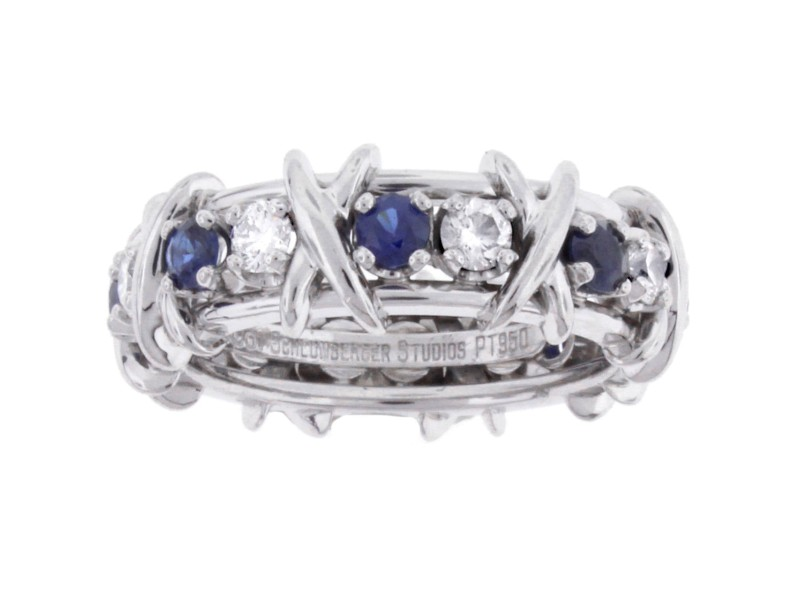 Tiffany & Co. Jean Schlumberger Diamond Blue Sapphire Ring 7