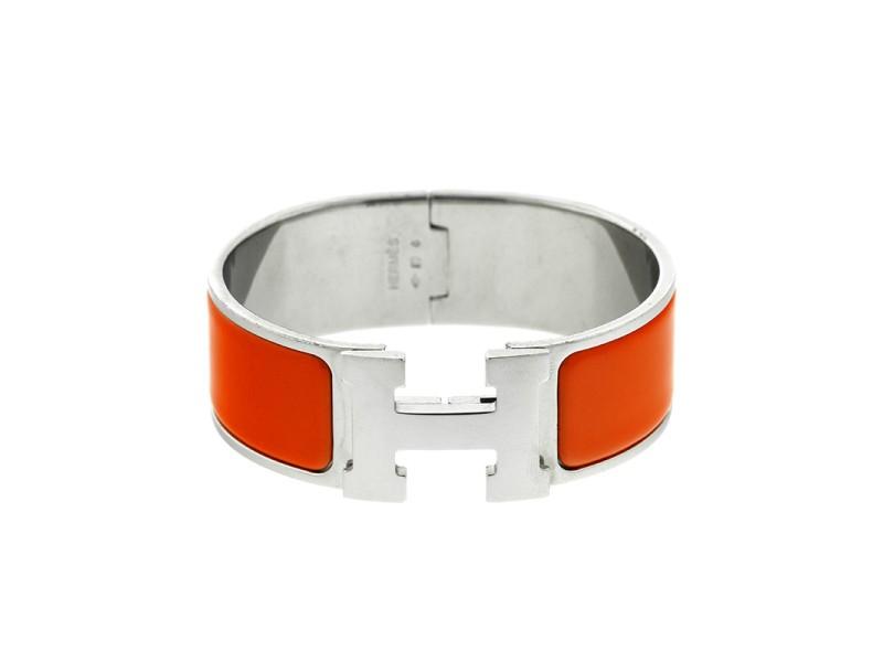 Hermes Clic Clac 'H' Orange Enamel Wide Cuff