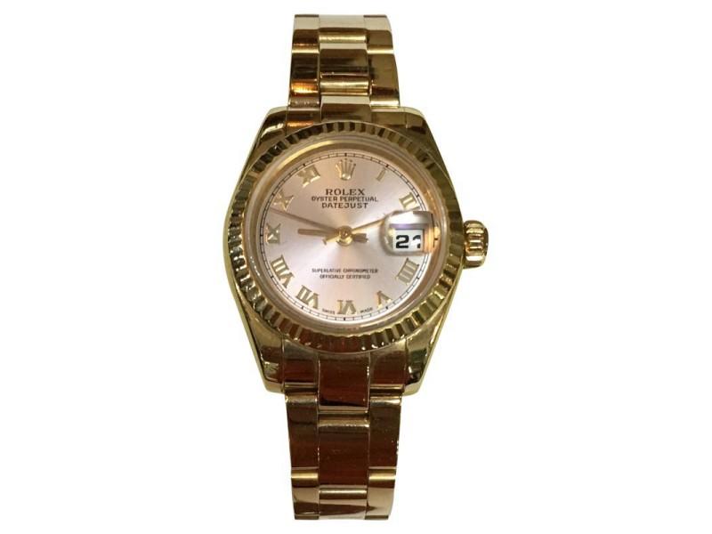 Rolex Datejust 18K Rose Gold Pink Roman Lady Watch
