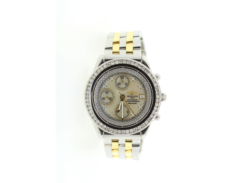 Breitling Chronograph Yellow Gold and Stainless Steel Diamond 45mm Watch