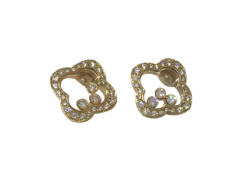 Chopard Happy Diamond 18k Yellow Gold Clover Shaped Earrings