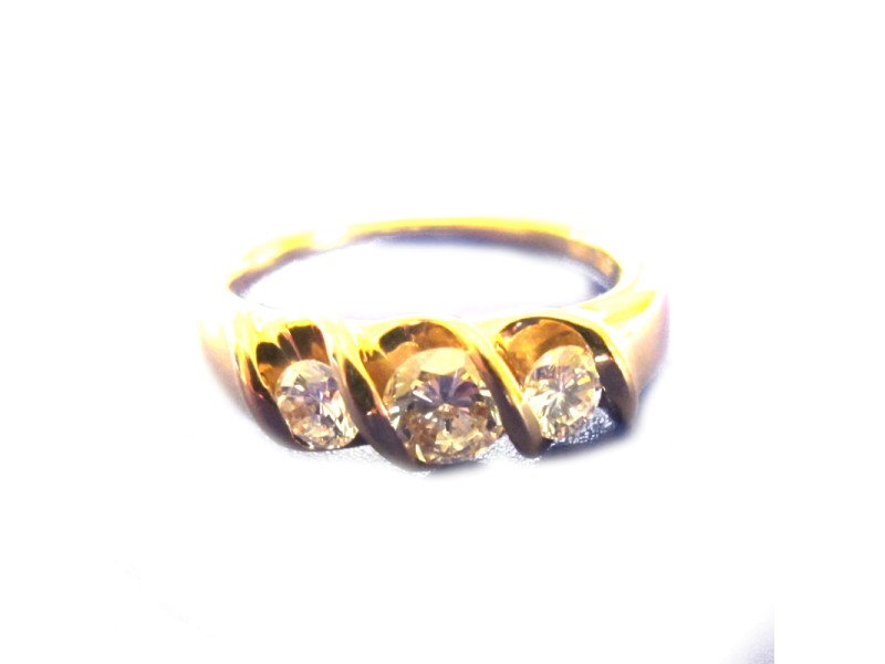14K Yellow Gold and Diamond Ring Size 10