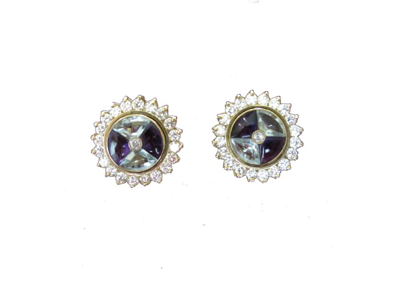 14K Yellow Gold Blue Topaz Diamond and Amethyst Earrings