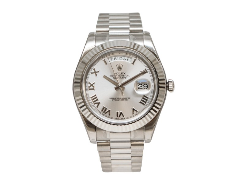Rolex Day-Date II 218239 RRP Rhodium Dial 18K White Gold President Automatic Men's Watch