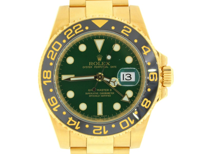 Rolex GMT Master II 116718LN 18K Yellow Gold Green Dial 40mm Watch