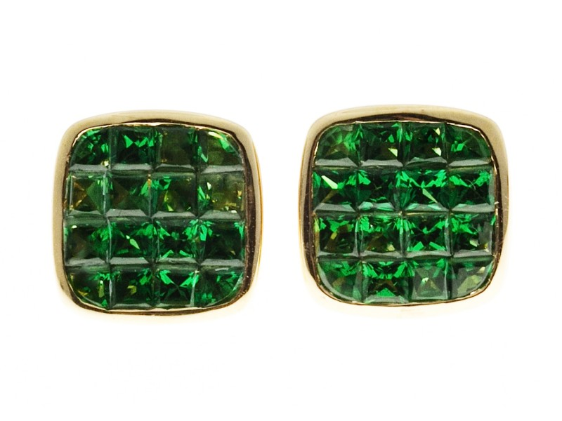 18K Yellow Gold with Green Square Tsavorite Garnet Earrings