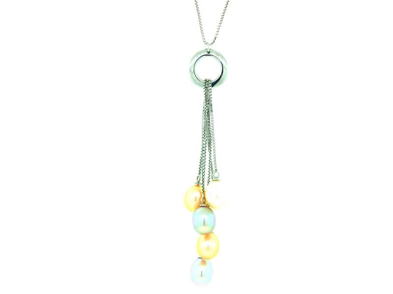 Sterling Silver Michael C Fina Pearl Dangle Multi Colored Pearl Necklace