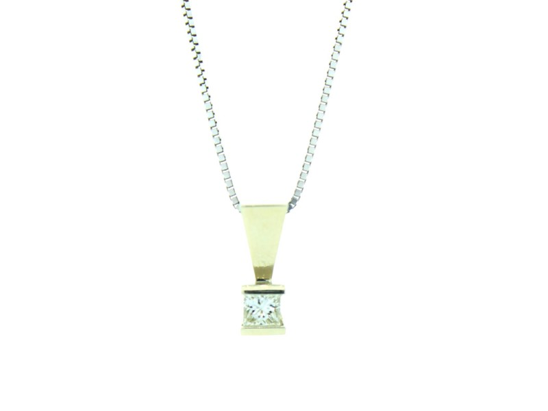 14k White Gold Solitaire Diamond Necklace