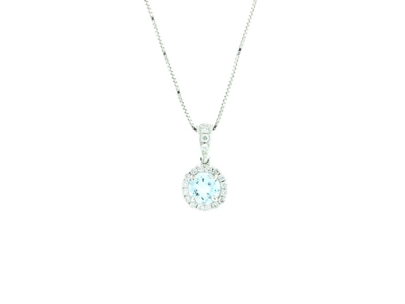 18k White Gold Aquamarine and Micropave Diamond Necklace