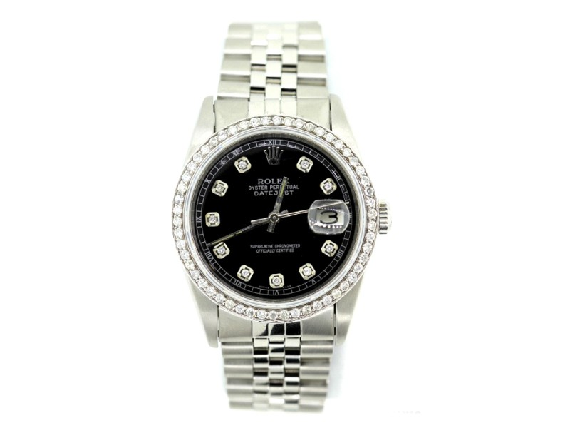Rolex Datejust Diamond Black Dial Stainless Steel 36mm Watch