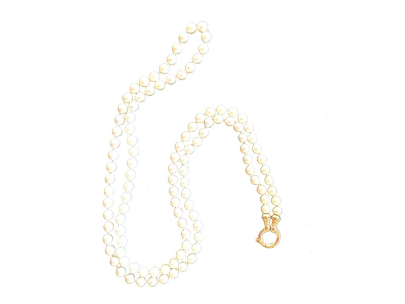 Pearl and Large Spring Hoop Gold Clasp Necklace