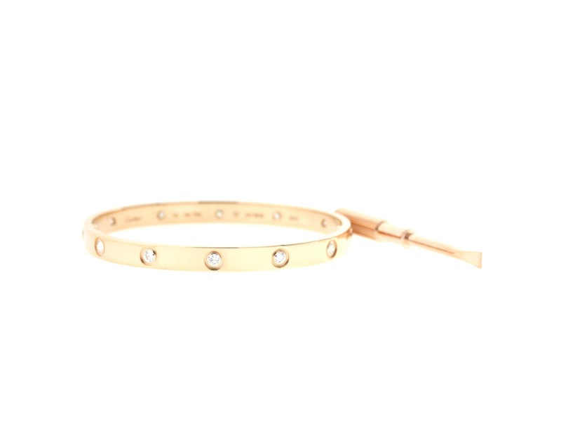 Cartier Love Bracelet Rose Gold with 10 Diamonds Size 18 B6040617