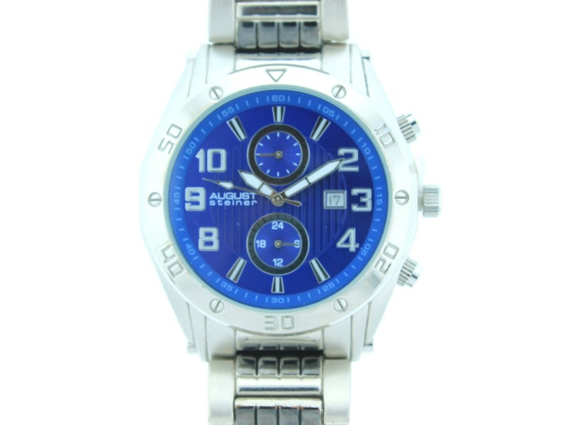 August Steiner Men's AS8070BU Blue Dial Silver-Tone and Black Bracelet Watch