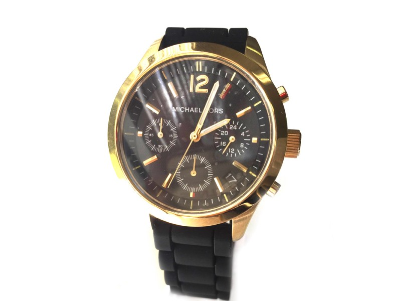 Michael Kors MK5408 40mm Jet Set Black Chronograph Silicone Watch