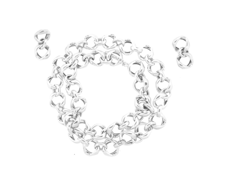 Erica Zap Link Silver Earrings and Necklace Set