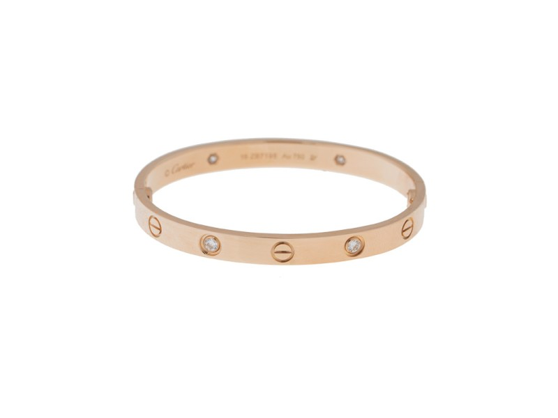 Cartier Love Bracelet 18K Rose Gold Half Diamond Size 18