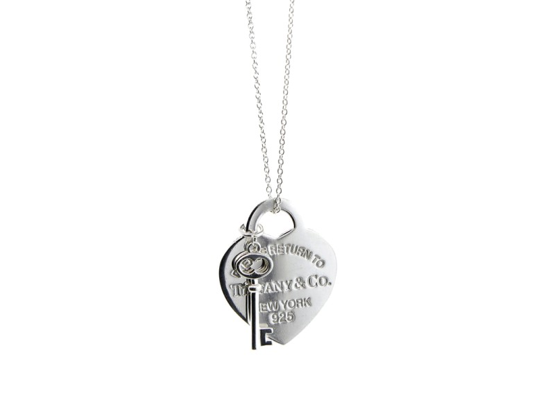 Tiffany & Co. Heart and Key Pendant Necklace
