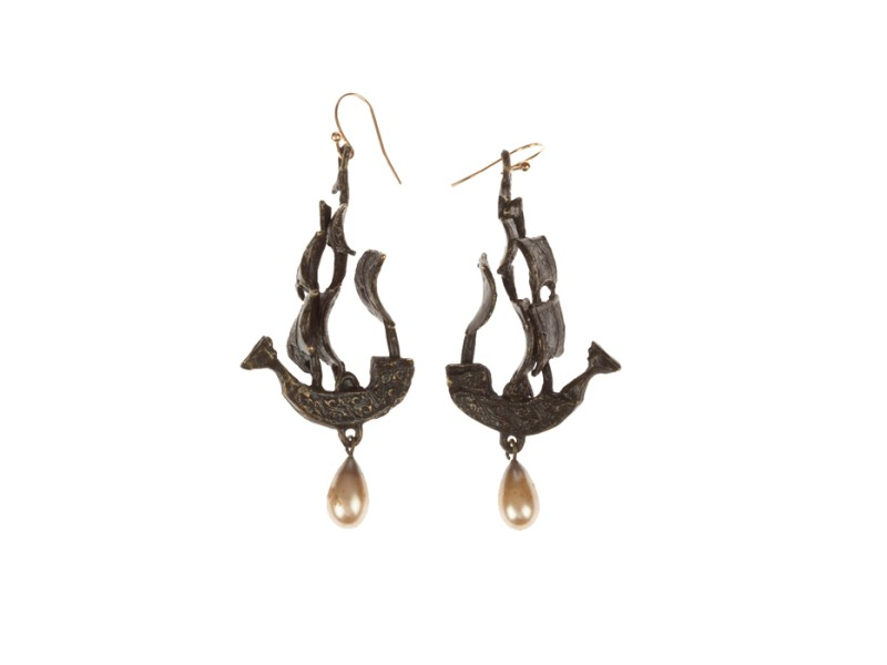 Handmade One Of a Kind Pirate Ship Earrings