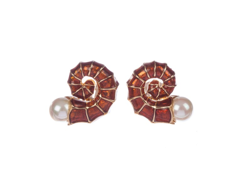 Judith Leiber Snail Shell Enamel Earrings