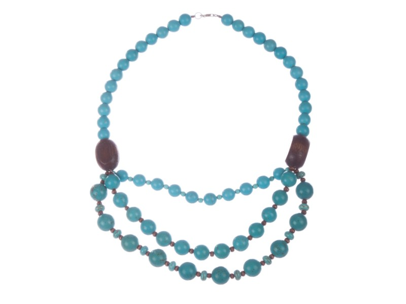 Hand Made Turquoise and Wood Bead Necklace