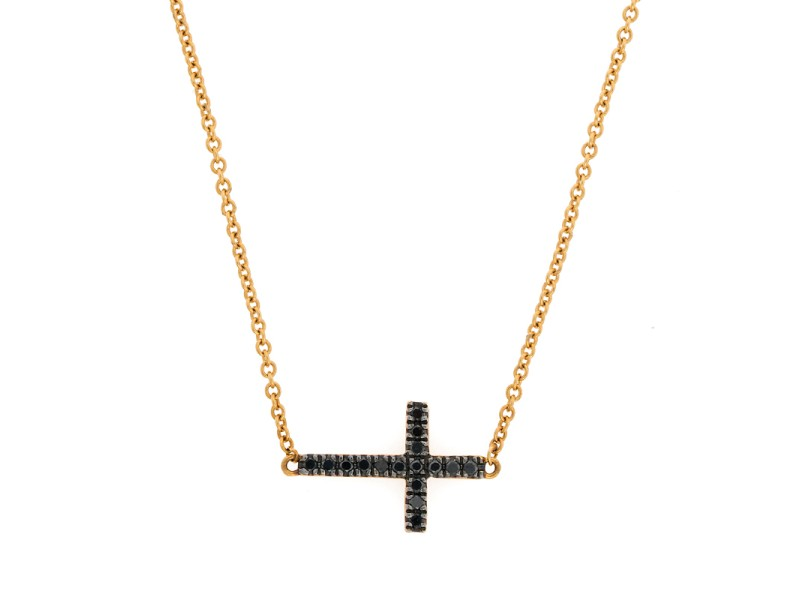 Bony Levy 18K Yellow Gold Reversible Black Diamond Cross Pendant Necklace