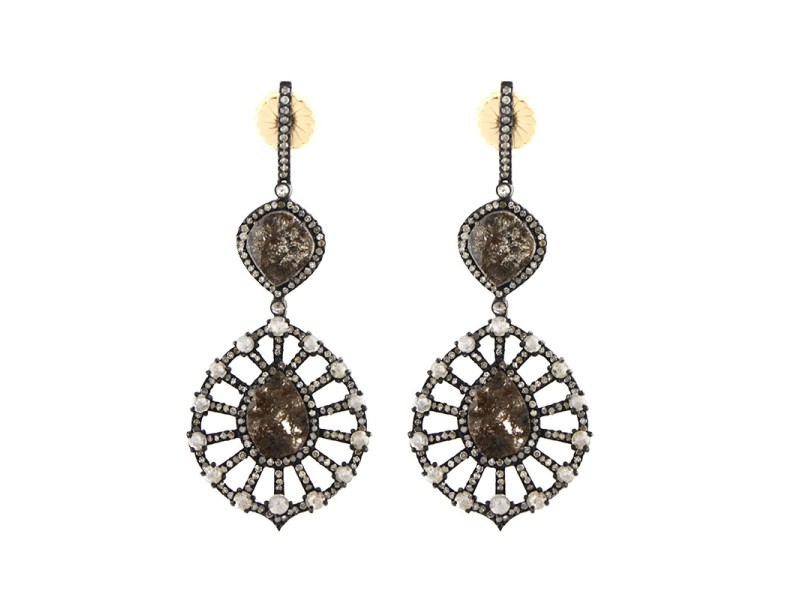 14K Yellow Gold & Sterling Silver Diamond Drop Earrings