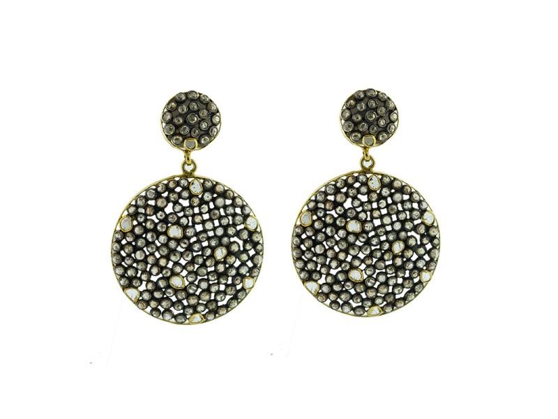 14K Yellow Gold & Sterling Silver Rose Cut Diamond Disc Earrings